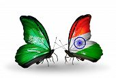 Two Butterflies With Flags On Wings As Symbol Of Relations Saudi Arabia And India