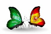Two Butterflies With Flags On Wings As Symbol Of Relations Saudi Arabia And Spain
