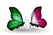 Two Butterflies With Flags On Wings As Symbol Of Relations Saudi Arabia And Qatar