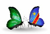 Two Butterflies With Flags On Wings As Symbol Of Relations Saudi Arabia And Kongo