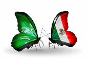 Two Butterflies With Flags On Wings As Symbol Of Relations Saudi Arabia And Mexico