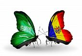 Two Butterflies With Flags On Wings As Symbol Of Relations Saudi Arabia And Moldova