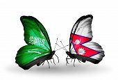 Two Butterflies With Flags On Wings As Symbol Of Relations Saudi Arabia And Nepal