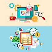 Set of modern flat design business vector infographics banners