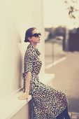 Fashion Vintage Style - Beautiful Elegant Woman In Leopard Dress And Sunglasses Outdoors