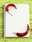 Chilly pepper with recipe book on color wooden table background