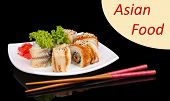 Delicious rolls served on plate isolated on black with space for your text