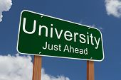 University Just Ahead Sign