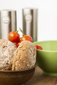 Freshly Baked Brown Wholegrain Bread Rolls