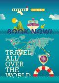 Travel background design in color. Vector illustration.
