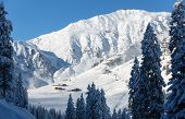 Ski resort with ski huts in Tyrol Mayrhofen