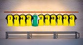 Row of Football Yellow and Green Shirts 3-5