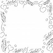 Vector Frame with Hearts and Feather