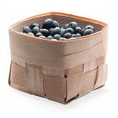 Blackberies In Wood Basket Isolated