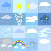 pic of rainy weather  - Flat icons of sunny rainy cloudy and snowy weather - JPG