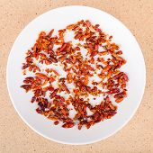 Dried Chili Peppers On Plate