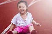 Cheerful Girl In Sports Stadium