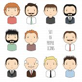 Set of colorful male faces icons. Funny cartoon hand drawn faces