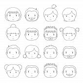 Set of line silhouette office people icons.