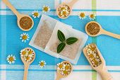 stock photo of tea bag  - Fresh and dried chamomile flowers and chamomile tea bags - JPG