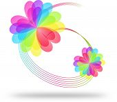 Colorful Flowers On Spiral