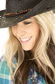 Cowgirl Blue Shirt Close Black Hat Smile Looking Down