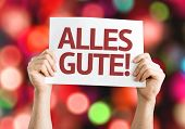All The Best (in German) card with colorful background with defocused lights
