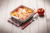 baked polenta with tomato sauce and mozzarella