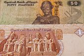 Different Egyptian  Banknotes On The Table