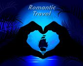 Silhouette Of Hands Making Heart Against The Night Exotic Landscape. Romantic Travel.