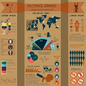 Alcohol drinks infographic elements. Template.