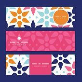 Vector abstract colorful stars horizontal banners set pattern background