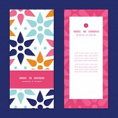 Vector abstract colorful stars vertical frame pattern invitation greeting cards set