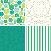Vector abstract green circles set of four marching repeat patterns