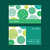 Vector abstract green circles horizontal stripe frame pattern business cards set