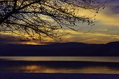 Sunset On Okanagan Lake In Winter