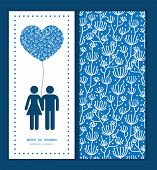Vector blue white lineart plants couple in love silhouettes frame pattern invitation greeting card t