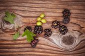 Wild Blackberry Berries On Wooden Background