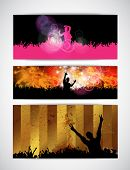 Dancing people. Music event banner. Vector