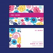 Vector fairytale flowers horizontal stripe frame pattern business cards set
