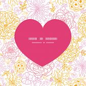 Vector flowers outlined heart silhouette pattern frame