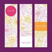 Vector flowers outlined vertical banners set pattern background