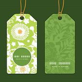 Vector green and golden garden silhouettes vertical round frame pattern tags set