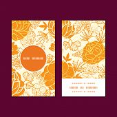 Vector golden art flowers vertical round frame pattern business cards set