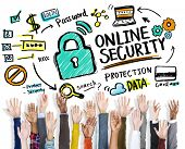 Online Security Protection Internet Safety Hands Volunteer Concept