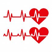 stock photo of electrocardiogram  - Heartbeat icons - JPG