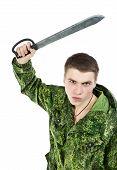 pic of machete  - young military man with machete - JPG