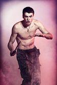 foto of machete  - young handsome man with machete in hand - JPG