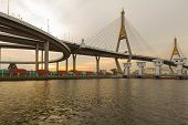 pic of suspension  - Suspension bridge Bhumibol bridge river front view - JPG
