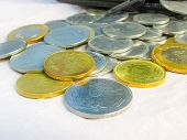 picture of golden coin  - Coins on white background golden and silver color - JPG